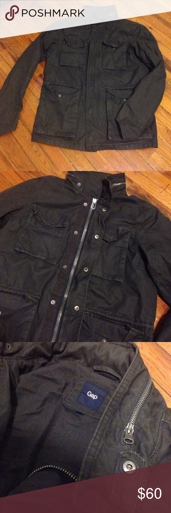 Vintage GAP jacket Has 7 pockets in the front . Has. Hood hidden inside the zipper. Could button it up and zip it up as well. Great condition and perfect jacket GAP Jackets & Coats Military & Field