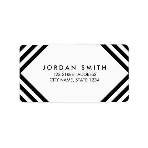 white and black lines minimalist geometric address label in 2018