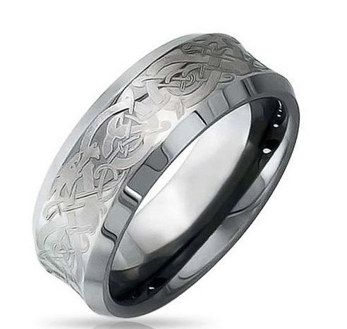 Mens 8mm Celtic Tungsten Carbide Wedding Band