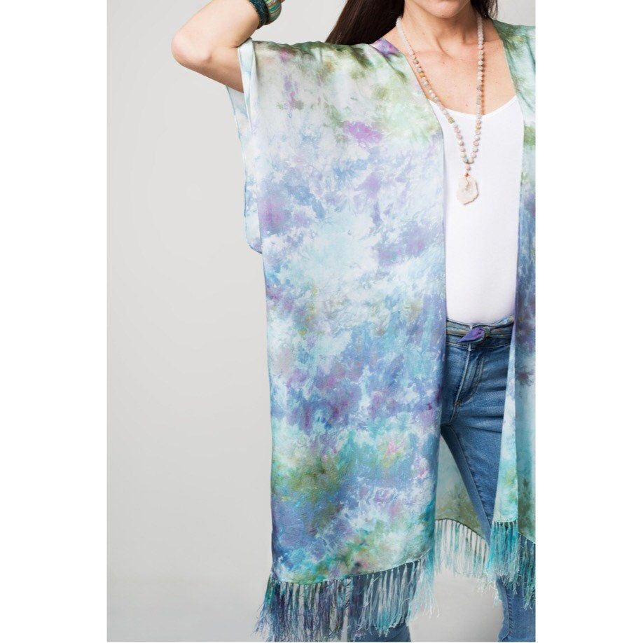 A nice batch of these pretty pastel silks are headed to Sandy bay art gallery. So perfect for an island resort, we're day dreaming of the beach.    #MadeInNYC #bohemian #spring2017 #ss17 #resortwear #beachstyle #handdyed #tiedye  #boho #bohostyle #kimono