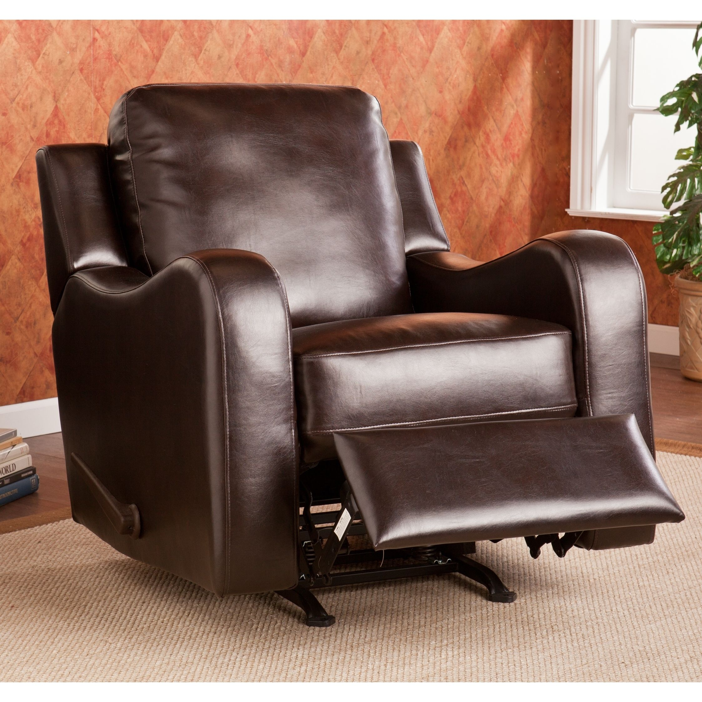 This Upton Home Monticello Chocolate Rocker/ Recliner Features Beautiful  Chocolate Bonded Leather And A Comfortable Design For Easy Lounging. This U2026