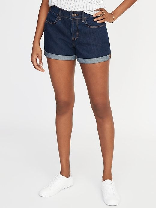 2526cadfc8 Old Navy Women's Mid-Rise Cuffed Denim Shorts - 3-Inch Inseam Rinse Size