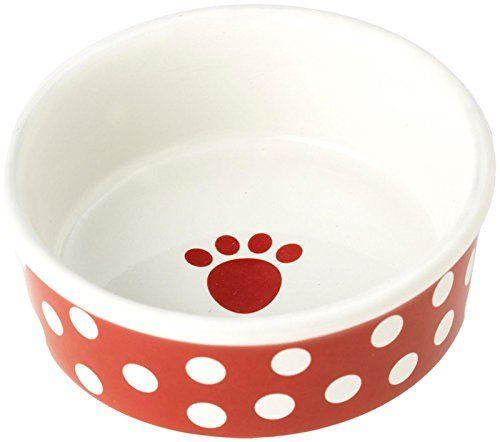 Petrageous Designs Poppy Dots 5 Bowl with Paw Logo 2 Cups  Red