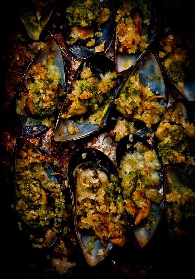 mussels gratinee