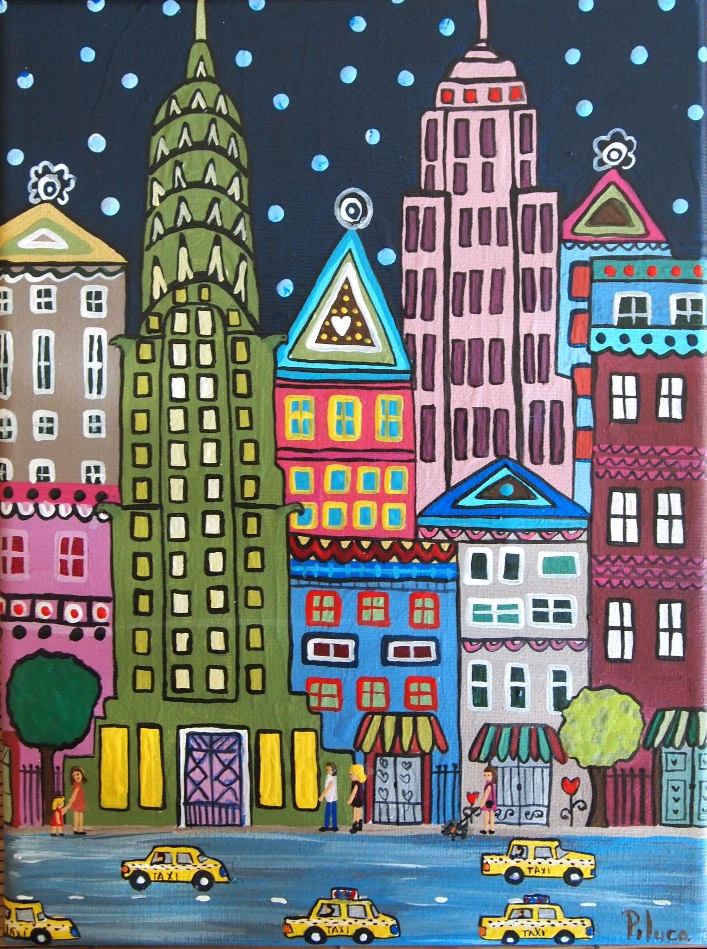 Resultado de imagen para ciudad edificios pintura