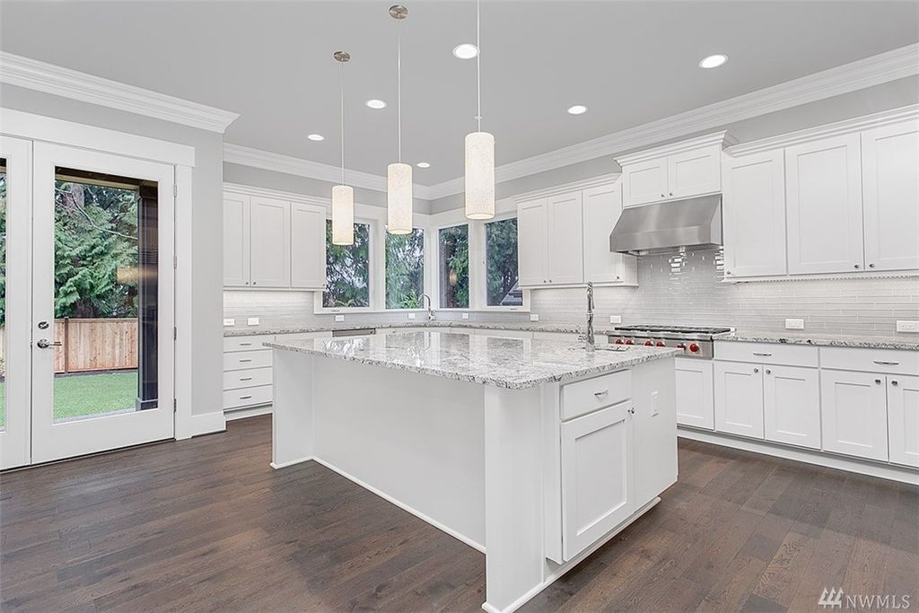 Transitional Kitchen With Blizzard Granite Countertop High
