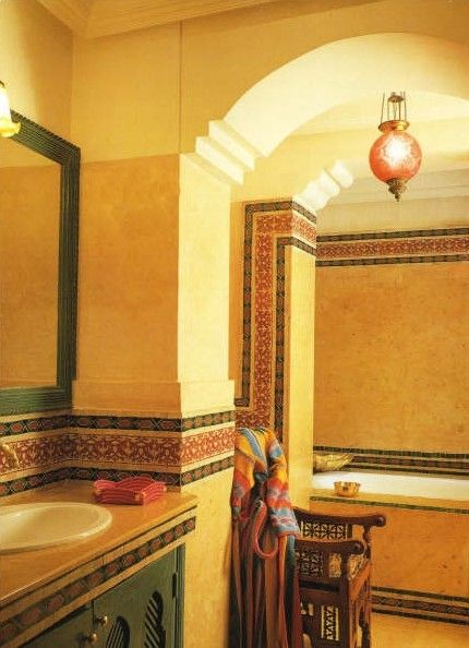 Moroccan Style Bathroom With Mosaic And Chiseled Border Tile