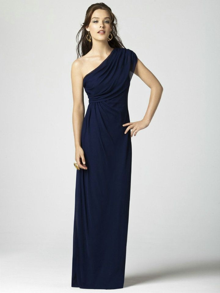 One Shoulder Asymmetric Ruched Long Elegant Navy Bridesmaid Dress ...