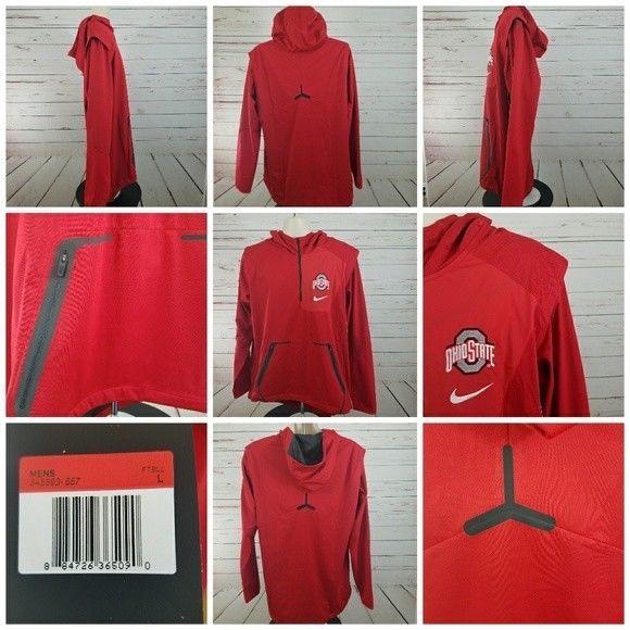 Nike Men s Large Ohio State Buckeyes Alpha Fly Rush Jacket 1 4 Zip Red  Football  Nike  OhioStateBuckeyes 3e0172574