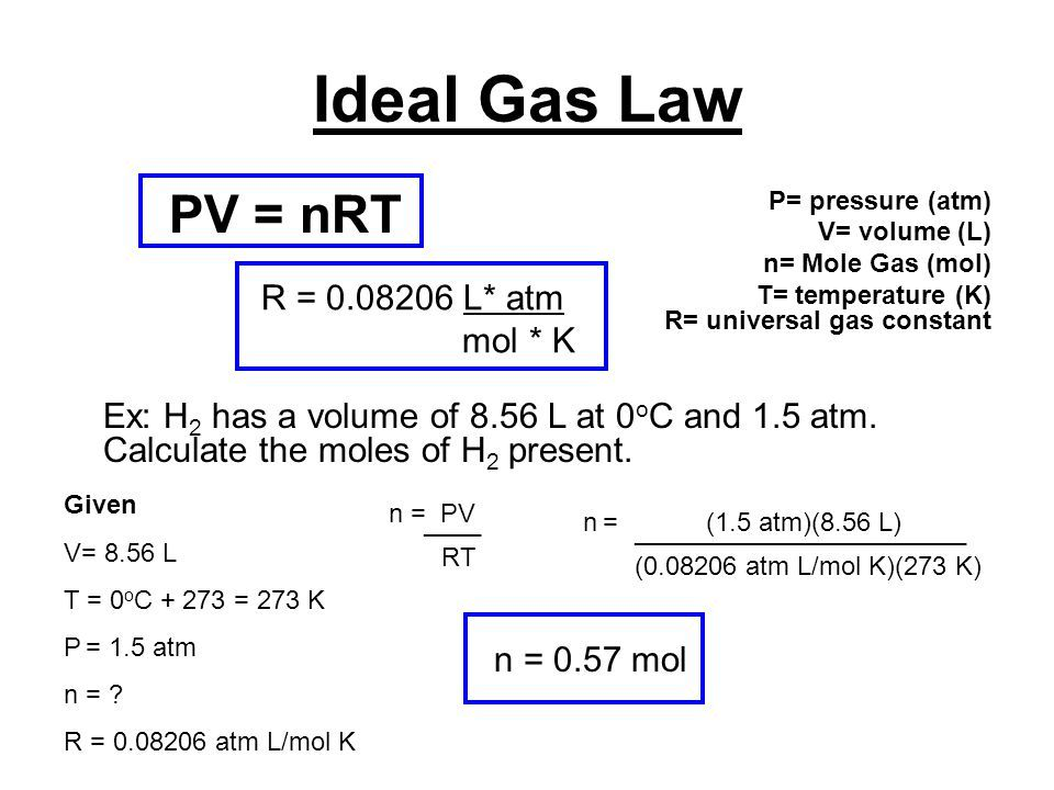 Image result for solve for moles in pv=nrt | Ideal gas law ...
