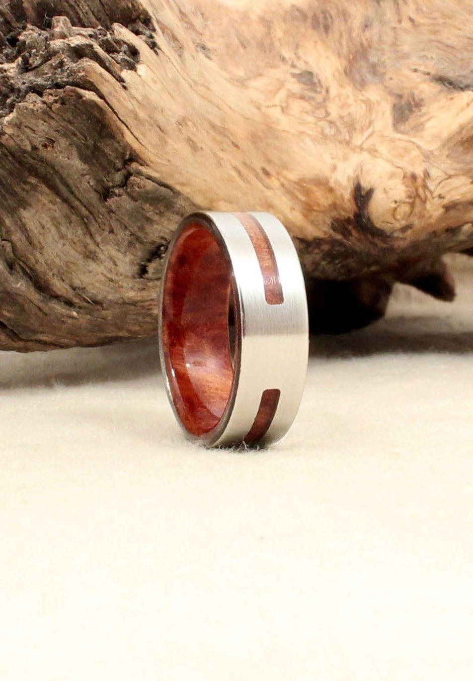 California Redwood Burl and Cobalt Wood Int/Ext Ring