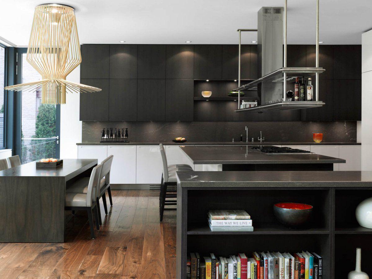 Dark Kitchen Island, Breakfast Bar, Impressive Modern Home In Toronto,  Canada