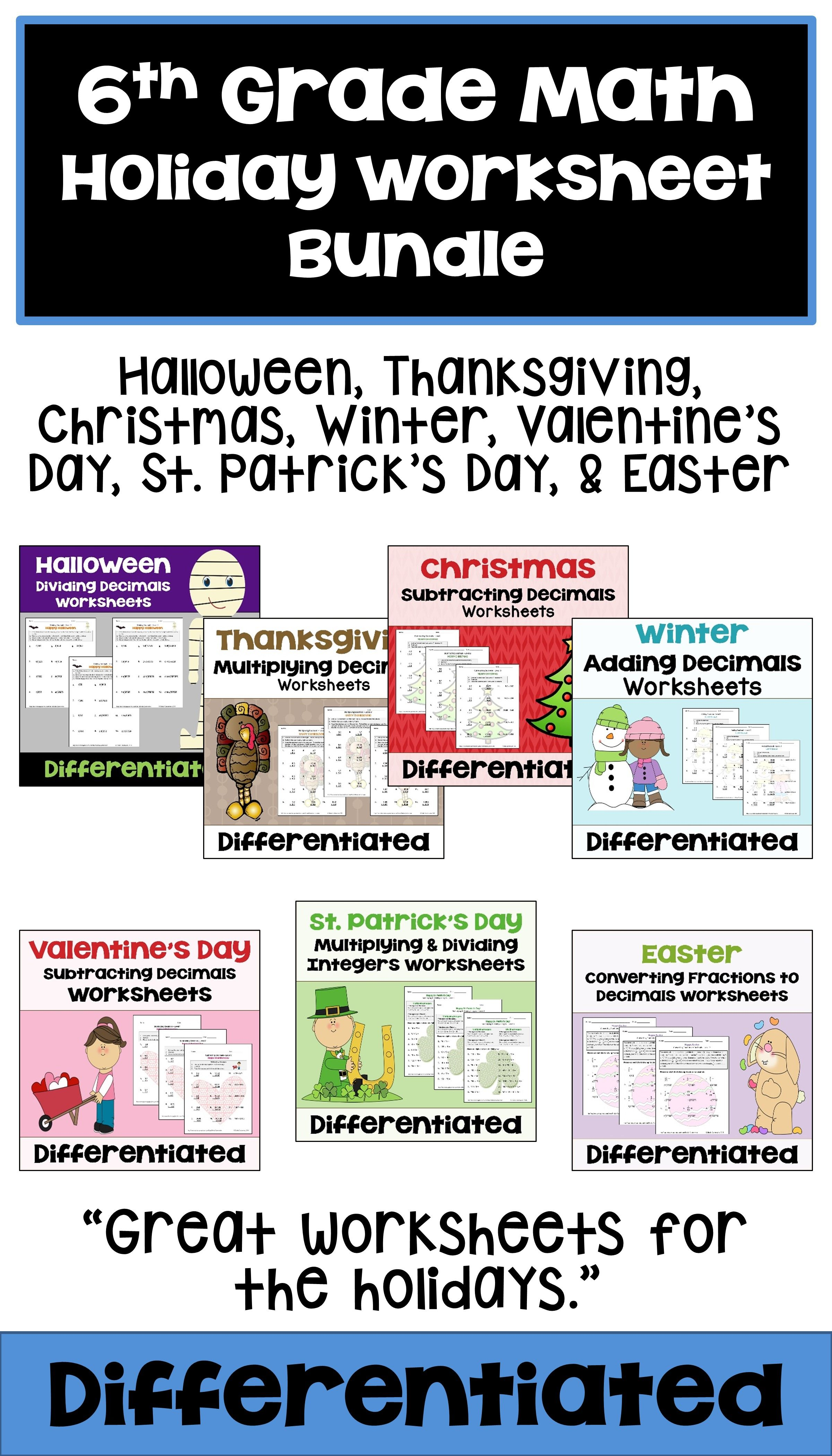 This 6th Grade Math Holiday Worksheet Bundle Features