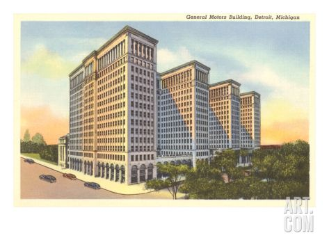 General Motors Building Detroit Michigan Art Print Building