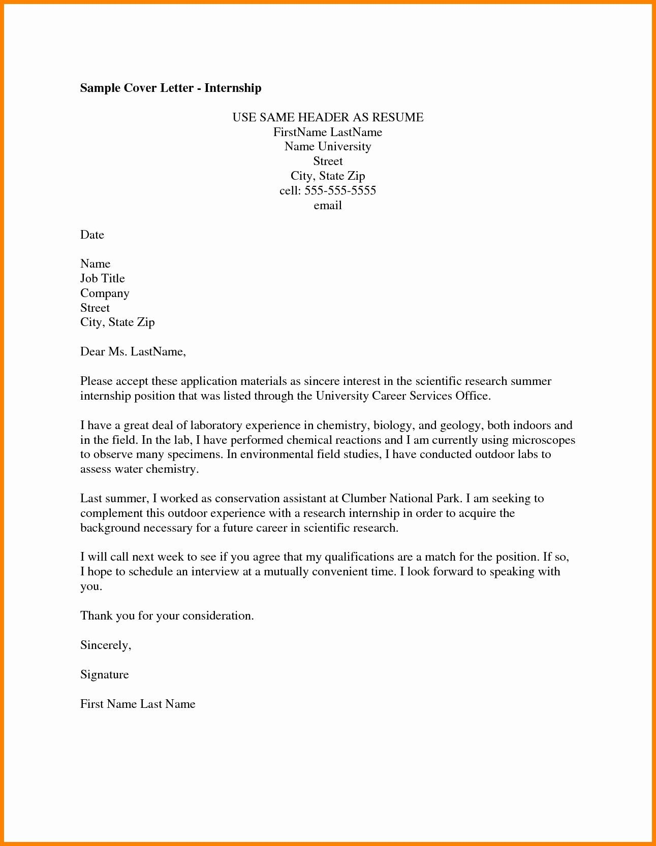 Confortable Resume Applying For Internship In Cover Letter For