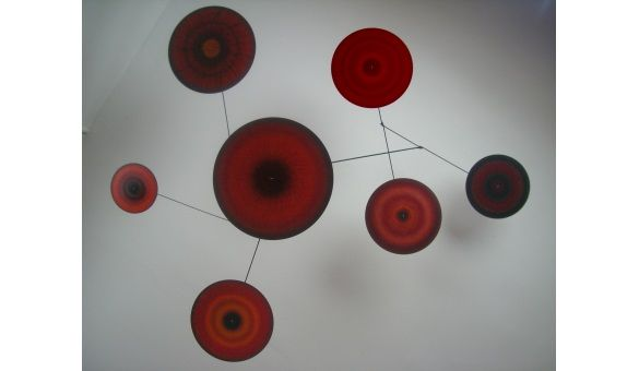 hand painted hanging mobile sculpture