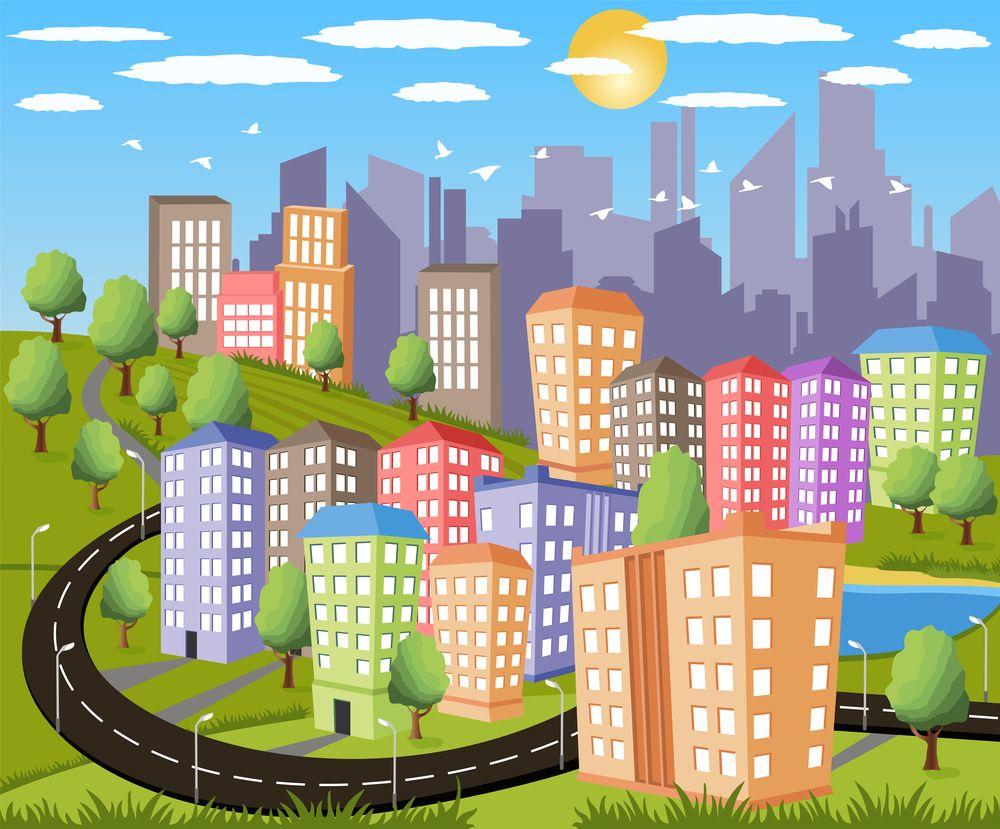 Imagenes De Edificios En Caricatura: Dibujo+De+Caricatura+De+Una+Ciudad+Grande