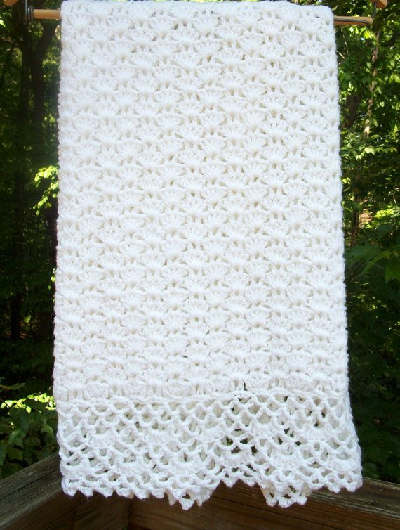 Crochet Blanket White Baby Afghan with by sweetpeacollections ...