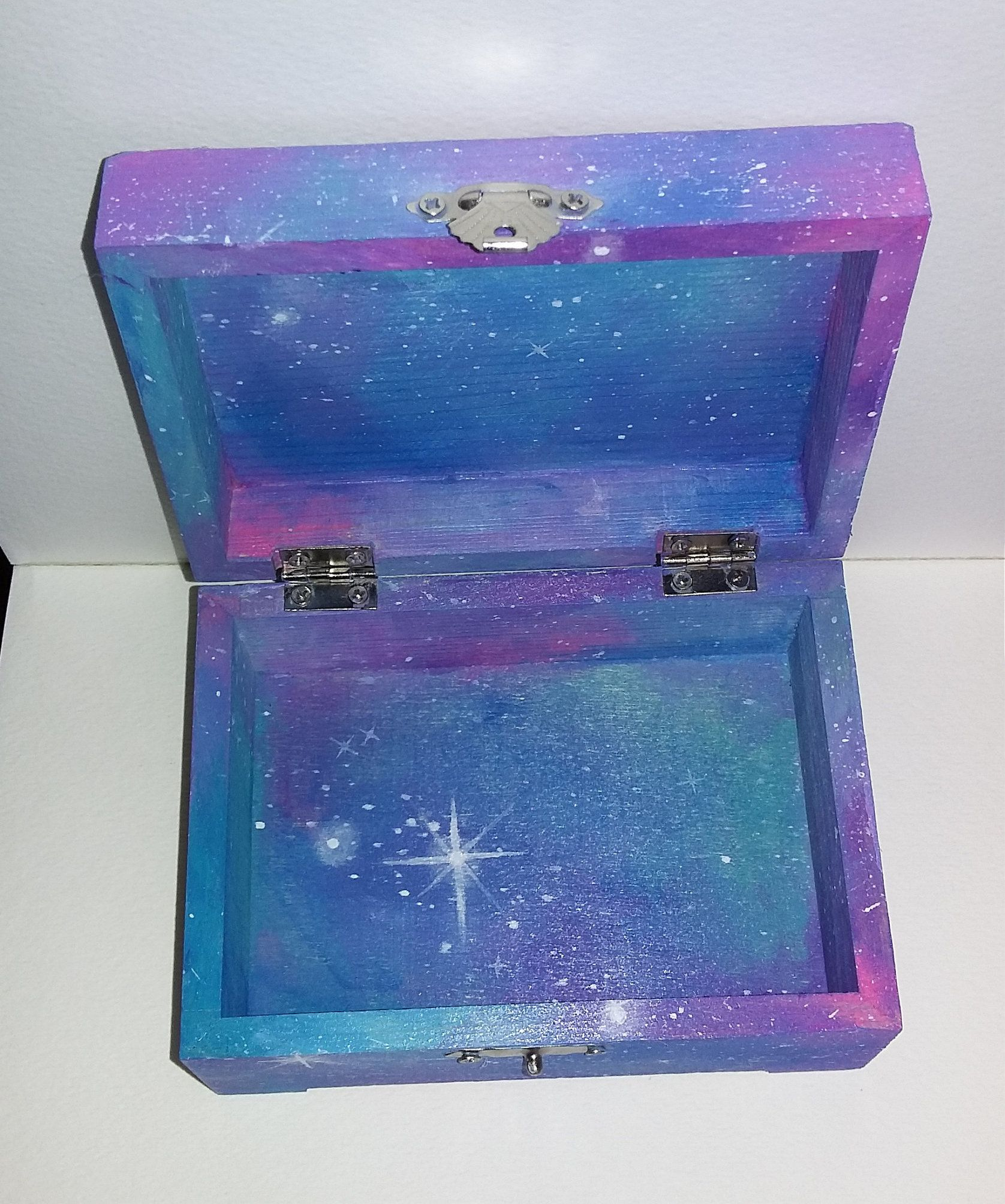 Hand Painted Galaxy Jewelry Box Cosmic Space Wood Trinket Holder