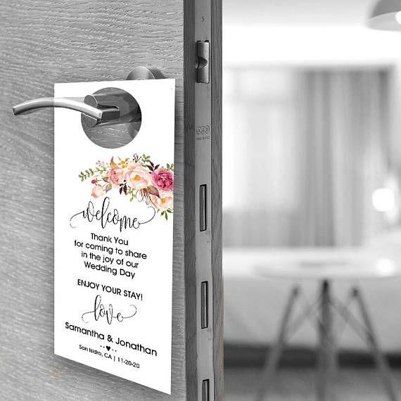 wedding door hanger please do not disturb welcome door hanger