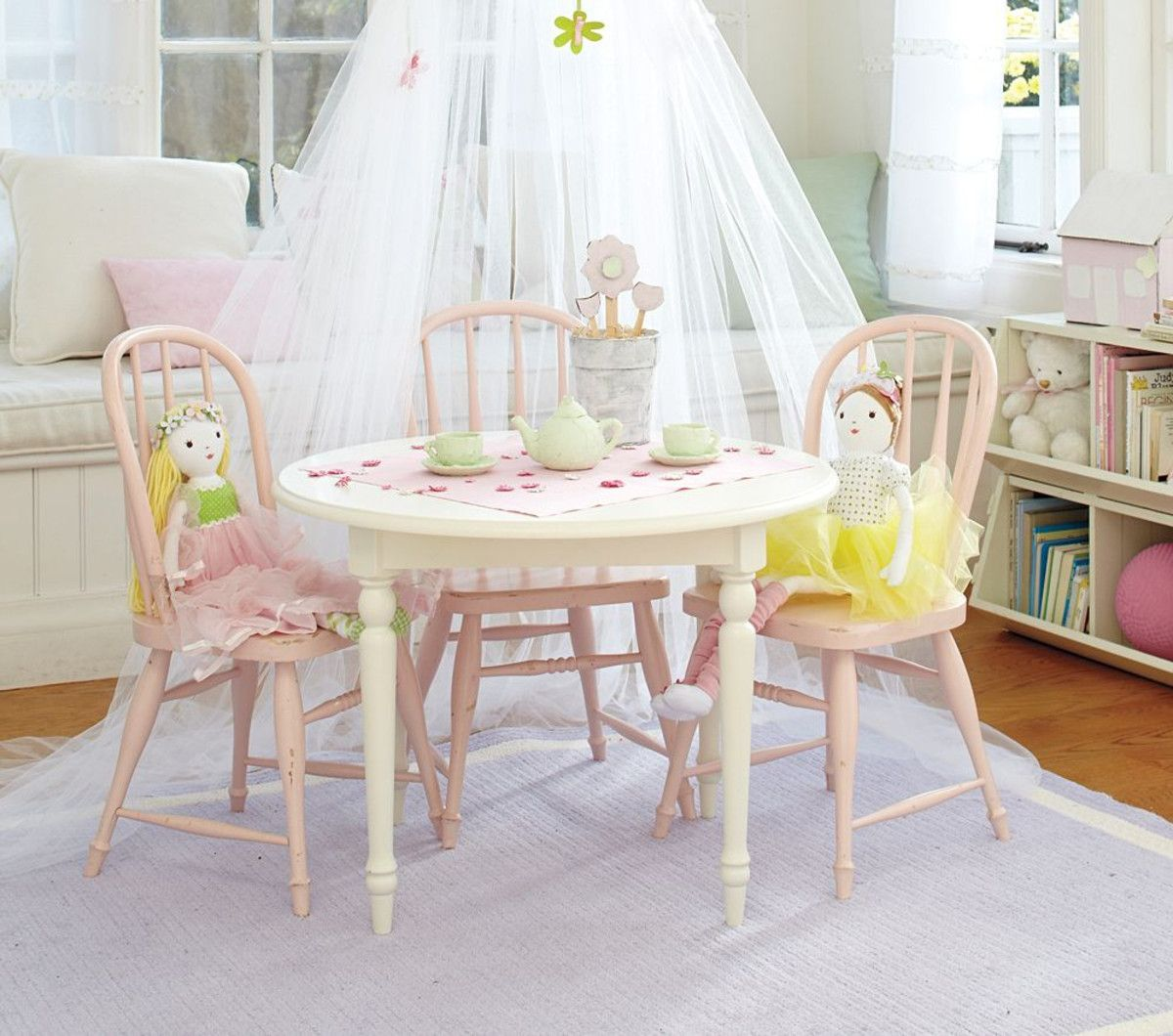 another table \u0026 chair set from Pottery Barn Kids & Timeless appeal- the PBK Finley Play Table \u0026 Chairs with Tulle ...