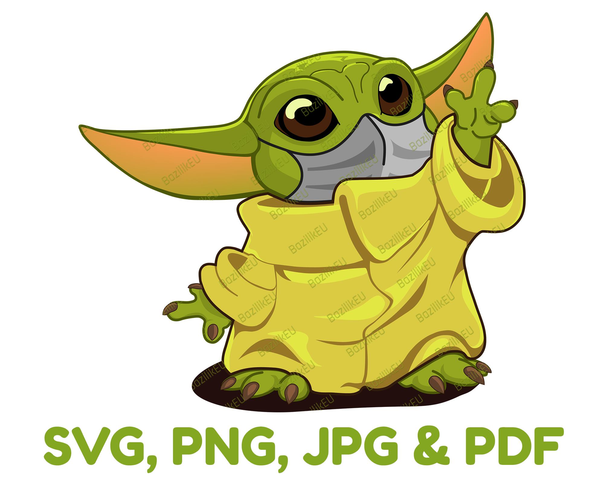 Baby Yoda Svg Mask Printable Bundle Mandalorian Baby Svg Star Wars Svg Disney Svg Tshirt Yoda Design Mug Baby Yoda Digital Print In 2021 Yoda Png Yoda Clipart Yoda