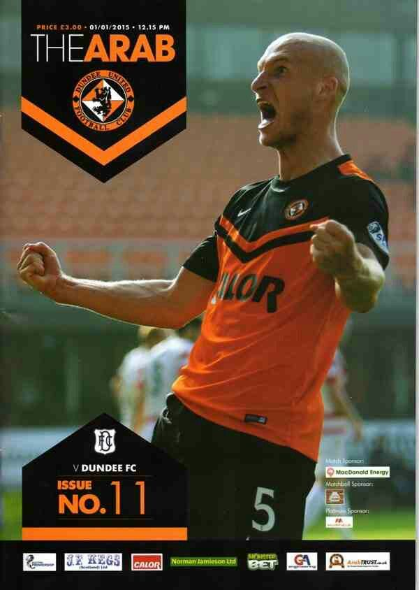 Dundee Utd 6 Dundee 2 in Jan 2015 at Tannadice. Programme cover #ScotPrem
