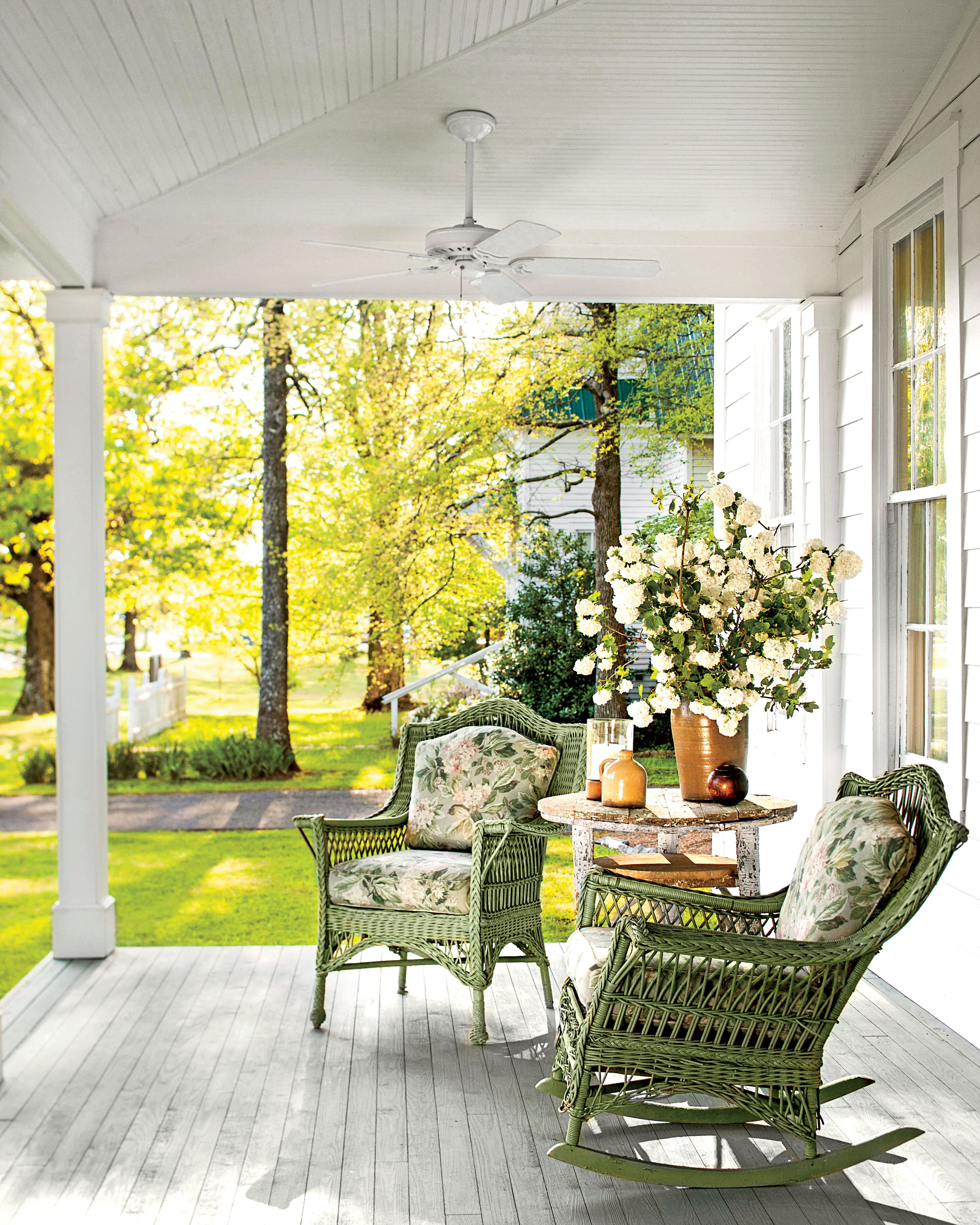 Front Porch With Green Rocking Chairs Patios Decks Outdoor