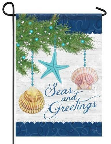 This Beach Style Season Greetings Garden Flag Will Either Make You Wish You Were Seaside F Merry Christmas Garden Flag Nautical Christmas Christmas Garden Flag