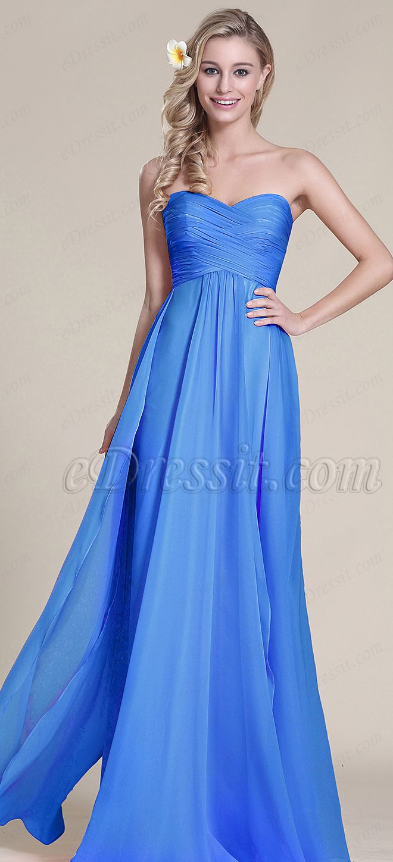 Strapless Royal Blue Pleated Bridesmaid Dress (07153305 ...