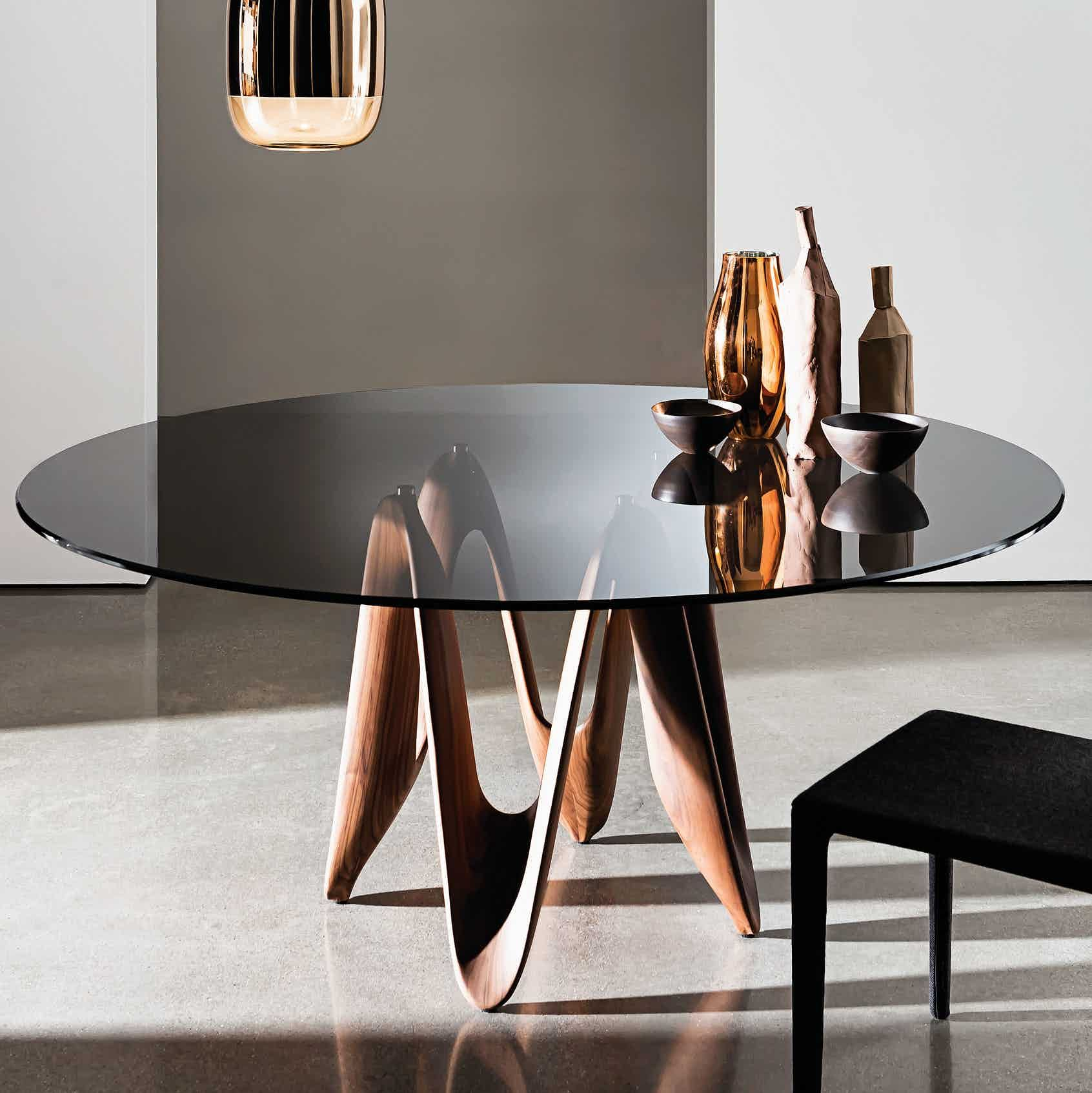 Haute Living Glass Dining Table Round Glass Table Dining Table