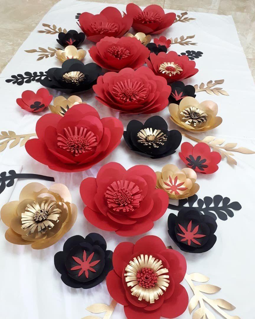 Paper Flowers Black Red Goldورد كرتوناحمر و اسود و دهبي Handmade Flowers Paper Paper Flowers Diy Paper Flowers Craft