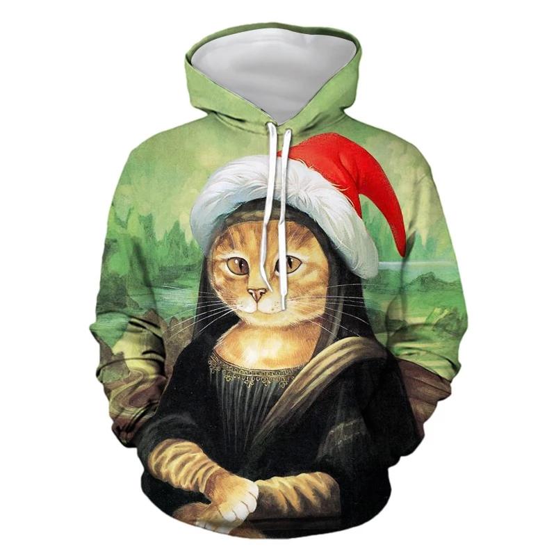Mens Hoodies 3D Graphic Printed Christmas Elegant Cat
