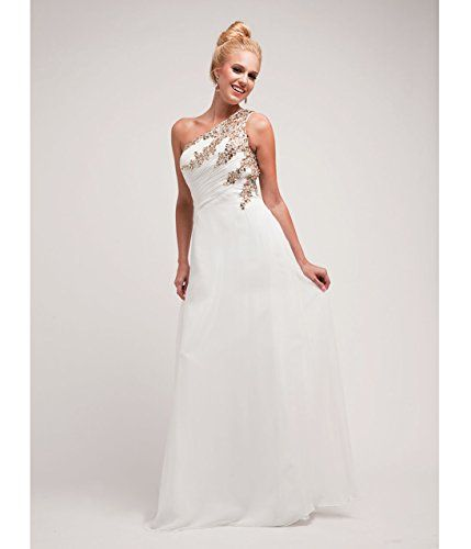 Off White Chiffon  Gold Stone One Shoulder Gown 2015 Prom Dresses -- Be sure to check out this awesome product.