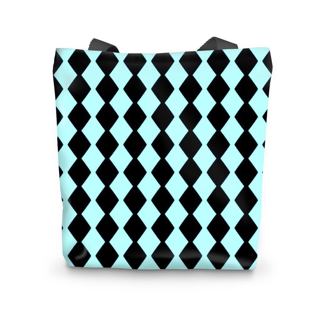 Teal Diamond Stripe Tote Bag