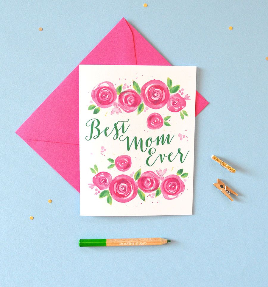 Bright Pink Rose Blooms Mothers Day Card Painting Pinterest Cards