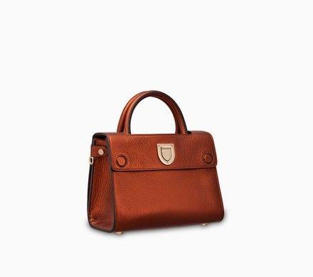 Mini Diorever bag in orange metallic grained calfskin - Dior ... 72cce9636d492