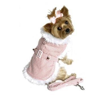 Houndstooth Fur-Trimmed Dog Harness Coat
