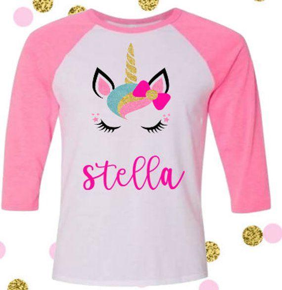 69ac2cad Girls Unicorn Shirt, Girls Unicorn Birthday Shirt, Unicorn Personalized  Shirt, Girls Unicorn Birthda