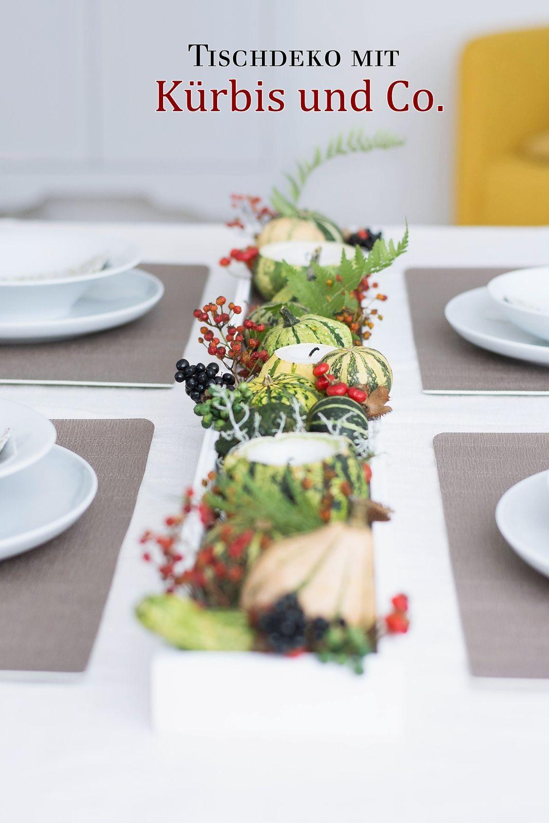 Tischdeko mit selbstgemachten Kürbiskerzen