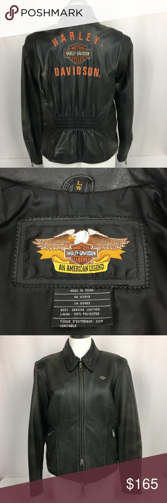 Harley Davidson Women L Leather Jacket Embroidered Harley Davidson Women Clothes Design Leather Jacket [ 1740 x 580 Pixel ]