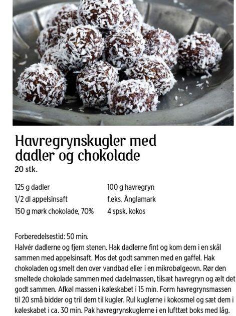 Havregrynskugler med dadler og chokolader #sundtslik