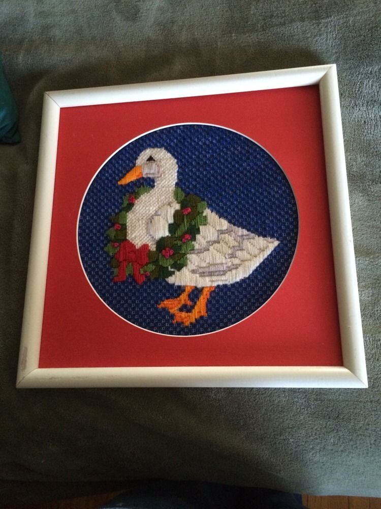Needlework Needlepoint Completed Cross Stitch Christmas Goose Frames ...