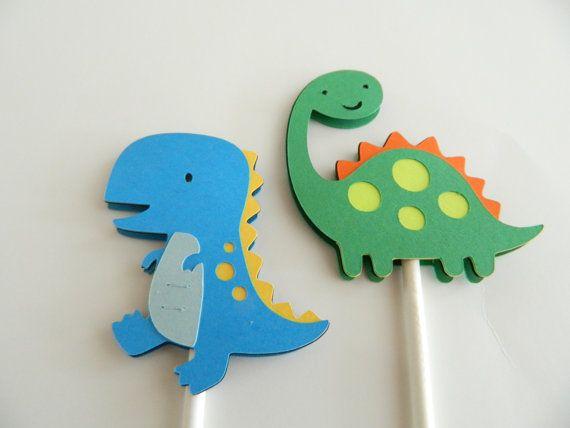 12 Dinosaur Cupcake Toppers Cupcake Toppers Dinosaur Cupcake
