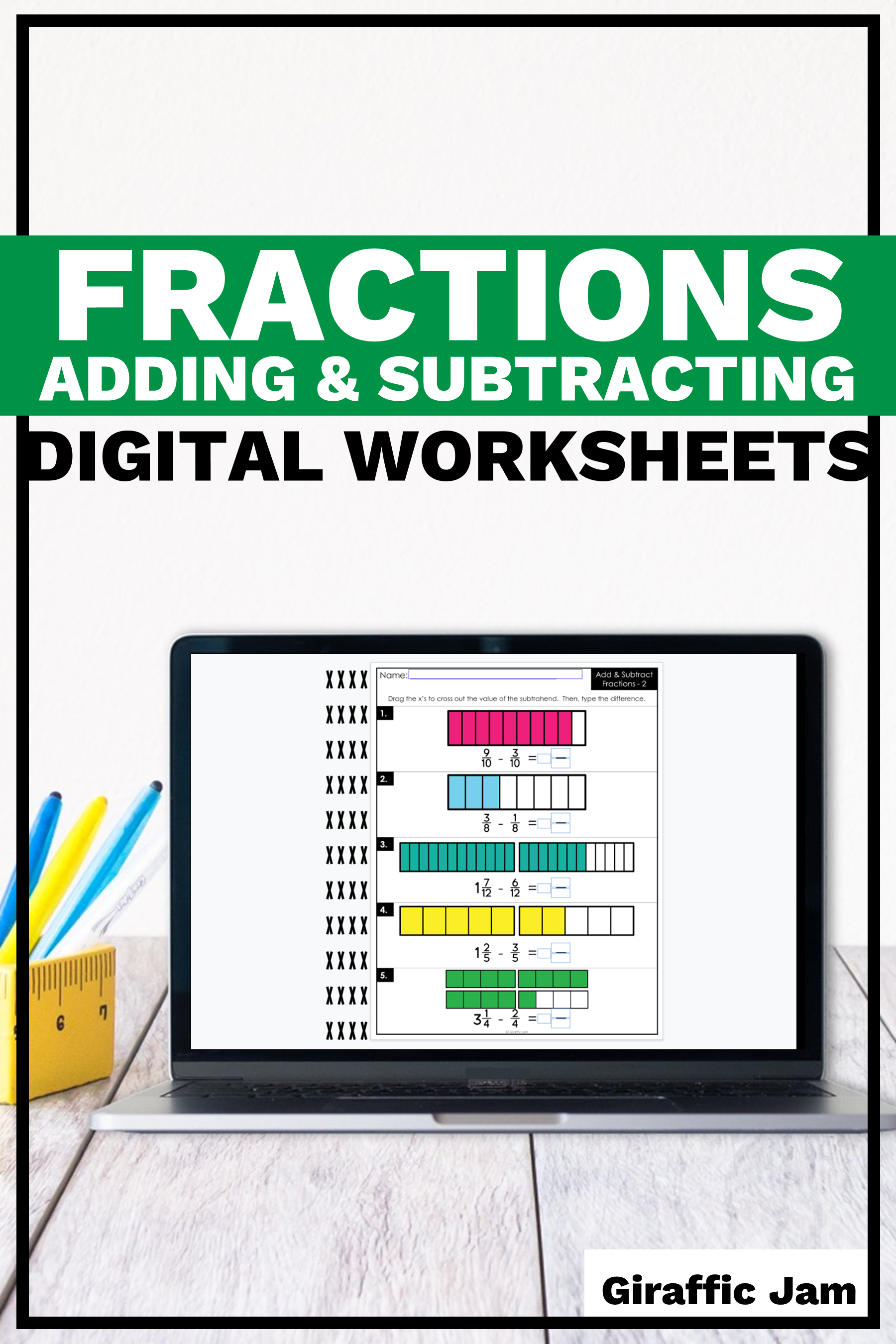 These 4th Grade Digital Fraction Worksheets Are Perfect