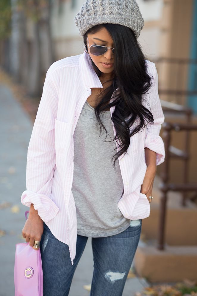 Beany ripped jeans stripes pink shirt