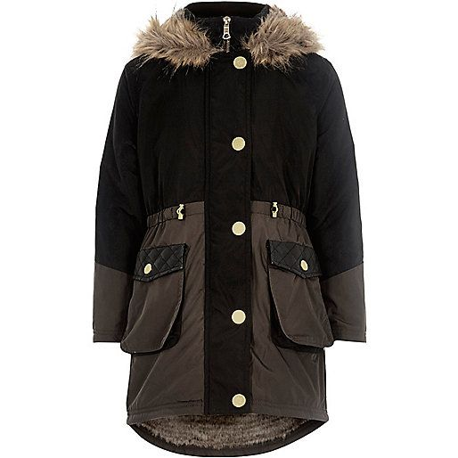 Girls black colour block parka coat - coats - coats / jackets ...