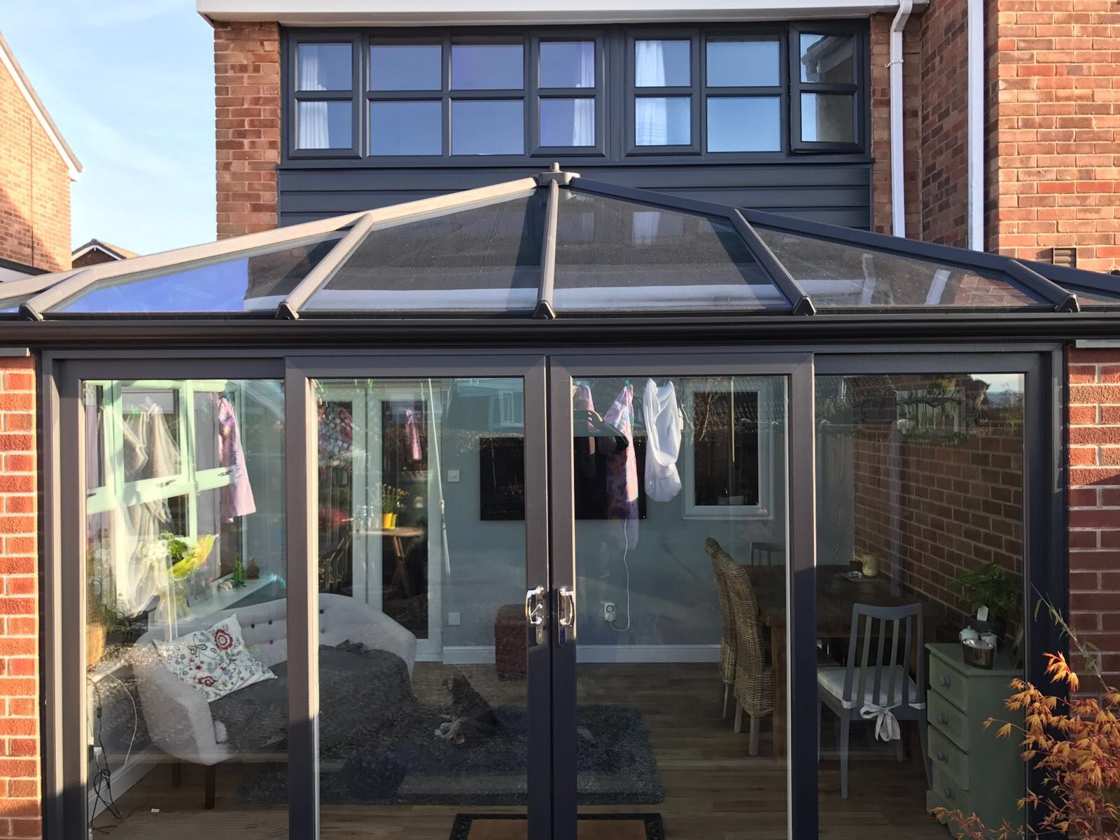 Anthracite Grey Conservatory With Matching Windows Www Global Windows Co Uk Orangery Extension Conservatory Roof Conservatory