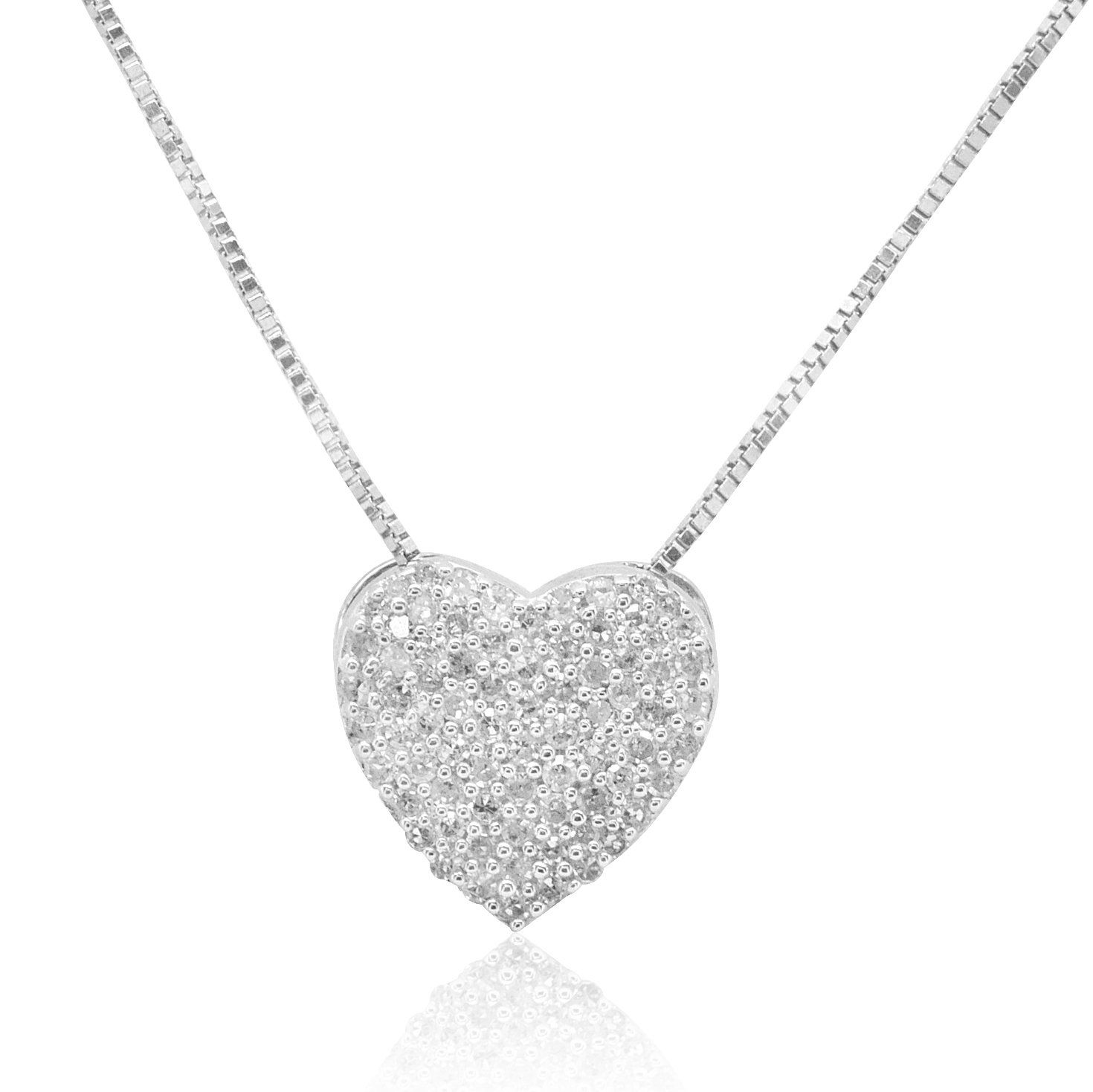 Sterling silver diamond heart necklace pendant cttw free