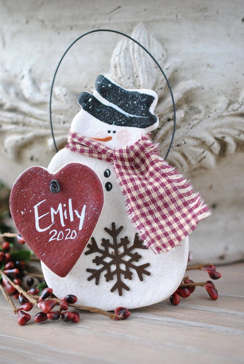 Personalized Hanging Snowman Salt Dough Christmas Ornament Etsy Salt Dough Christmas Ornaments Snowman Gifts Christmas Decorations Ornaments
